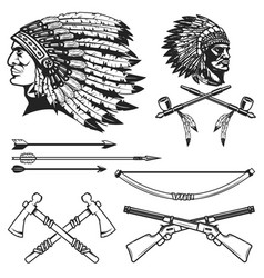 Set of native american indians chiefs heads vector