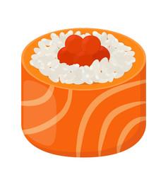 sushi roll - tasty food raw fish caviar rice vector image vector image