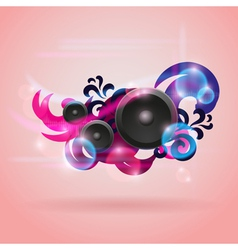 Abstract music background with round speakers vector image