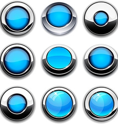 Aqua round buttons with chrome borders vector image vector image