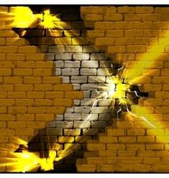 Brick wall with a gap and bright flash vector image vector image