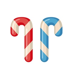 Candy cane icon in flat style vector image vector image