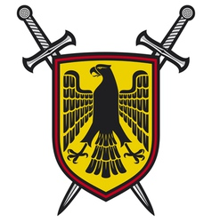 eagle and crossed swords coat of arms vector image