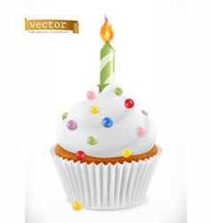 festive cupcake with candle 3d realistic icon vector image