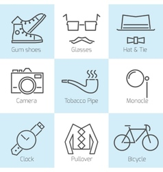 Set of hipster icons vector image