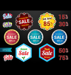 set of retro promotion discount sale guarantee tag vector image
