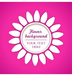 white flower on pink background vector image