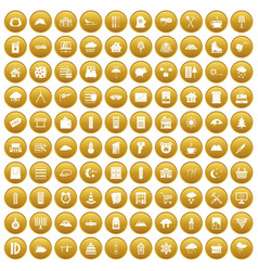 100 windows icons set gold vector