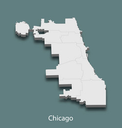 3d isometric map of chicago is a city of united vector