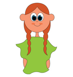 A girl wearing green blouse or color vector