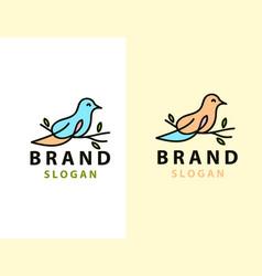 Abstract bird logo design template linear style vector