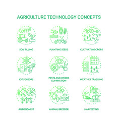 Agriculture technology concept icons set vector