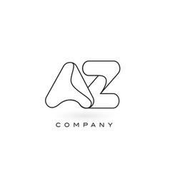 Az monogram letter logo with thin black monogram vector