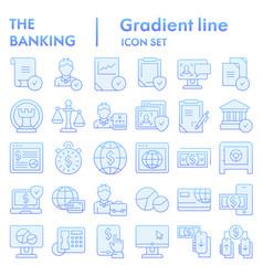 banking flat icon set finance symbols collection vector image