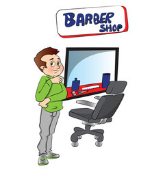 Barber at shop vector