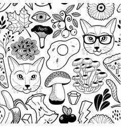 black and white endless wallpaper with hipster vector image
