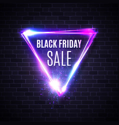 black friday banner neon triangle background vector image