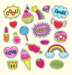 Bright girlish stickers in pink and red colors set vector