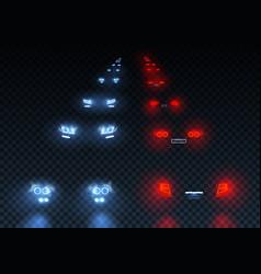 car road lights set vector image