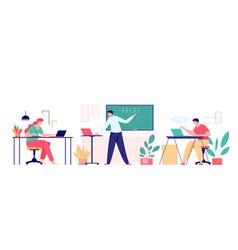 cartoon teacher and students on online class vector image