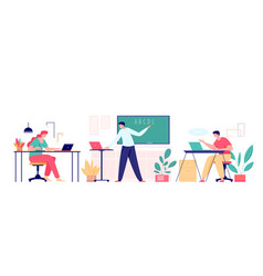 cartoon teacher and students on online class with vector image