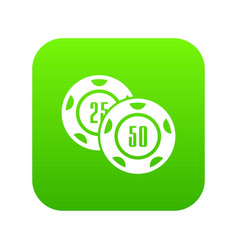 casino chip icon green vector image