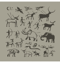 Cave man and animals rock painting vector