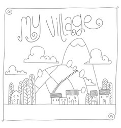 childish village drawing vector image