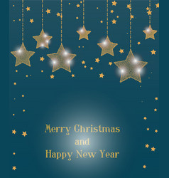 christmas greetings card of shiny stars vector image
