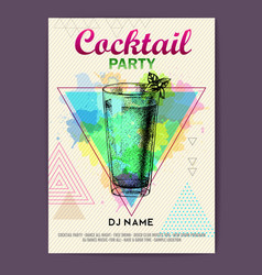 Cocktail mojito on watercolor background vector