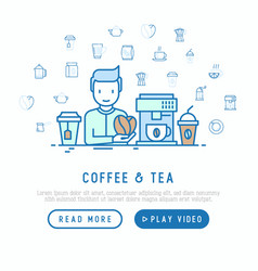 coffee and tea cooking concept vector image