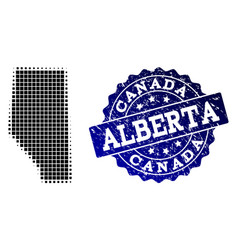 Collage of halftone dotted map of alberta province vector