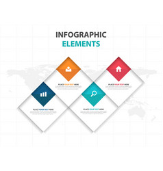 colorful square business infographics elements vector image