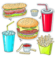 comic style colorful icons set fast food vector image
