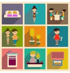 Concept of flat icons with long shadow family life vector