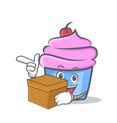 Cupcake character cartoon style with box vector