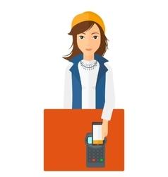 Customer paying using smartphone vector
