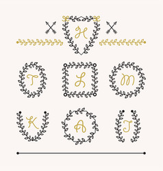 cute set black insignia leaves emblems icons vector image