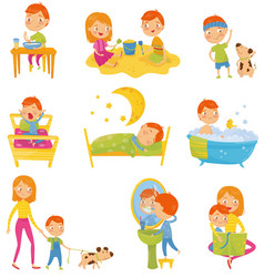 Daily routine of little boy kid eating breakfast vector