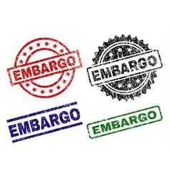 Damaged textured embargo seal stamps vector