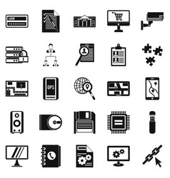 Deadline icons set simple style vector