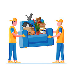 delivery character man movers carry armchair vector image
