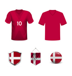 Denmark soccer jersey kit with team line up board vector