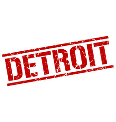 Detroit red square stamp vector