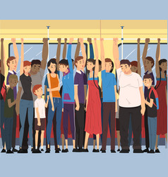 different people standing inside crowded subway vector image