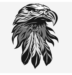 Eagle head with Tribal Feathers vector image