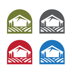 emblems set with mountains trees and field vector image
