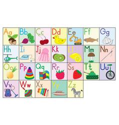 English alphabet cards set education for kids vector