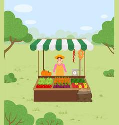 Farmer sells vegetables in autumn harvest time vector