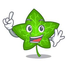 finger mascot cartoon beautiful ivy leaf plant vector image